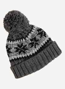 Grey & Black Pom-Pom Hat