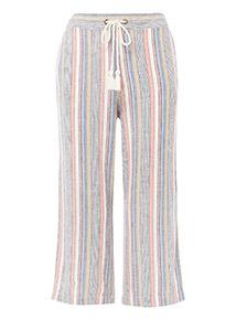 Striped Linen Crop Trousers