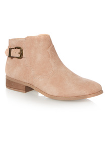 Flat PU Western Ankle Boot