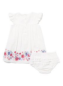 White Floral Embroidered Dress and Knickers Set (0-24 months)