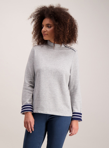 Grey Buttoned Funnel Neck Sweatshirt
