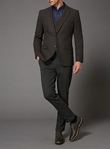 Brown Check Wool Mix Waistcoat