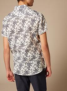 Premium White Slim Fit 100% Linen Floral Shirt