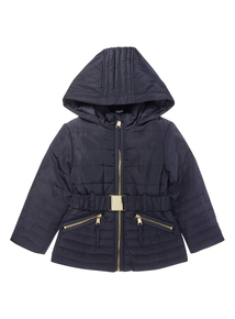 Girls Navy Quilted Coat (3-16 years)