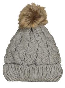 Grey Cable Knit Pom Pom Bobble Hat