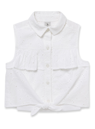 White Front Knot Broderie Top (3-14 years)