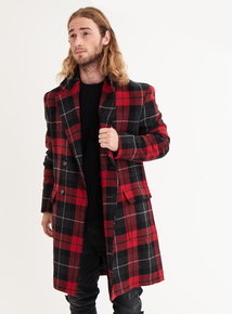 GFW Red Tartan Double Breasted Coat