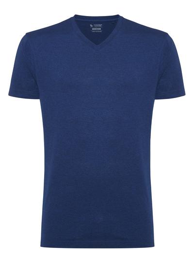 Online Exclusive Blue Plain V-Neck T-Shirt