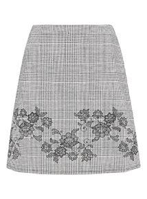 Monochrome Check Printed Floral Border Skirt