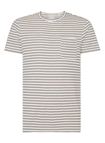 Cream Striped Crew T-shirt