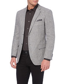 Grey Herringbone Linen Blend Jacket