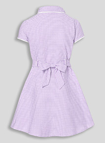 Online Exclusive Lilac Generous Fit Gingham Dress (3-12 years)
