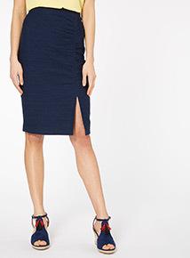 Navy Ruche Split Skirt
