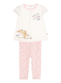 Cream Guess How Much I love You woven Leggings Set (0 - 24 months)