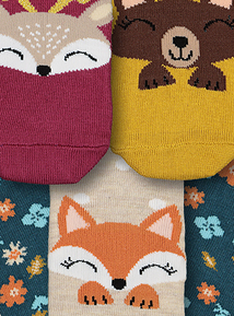 Multicoloured Animal Floral Socks 5 Pack (3 Infant - 5.5)