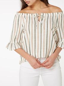 Multicoloured Rustic Stripe Bardot Top