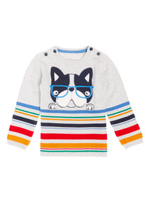 Grey Stripe Dog Jumper (0-24 months)