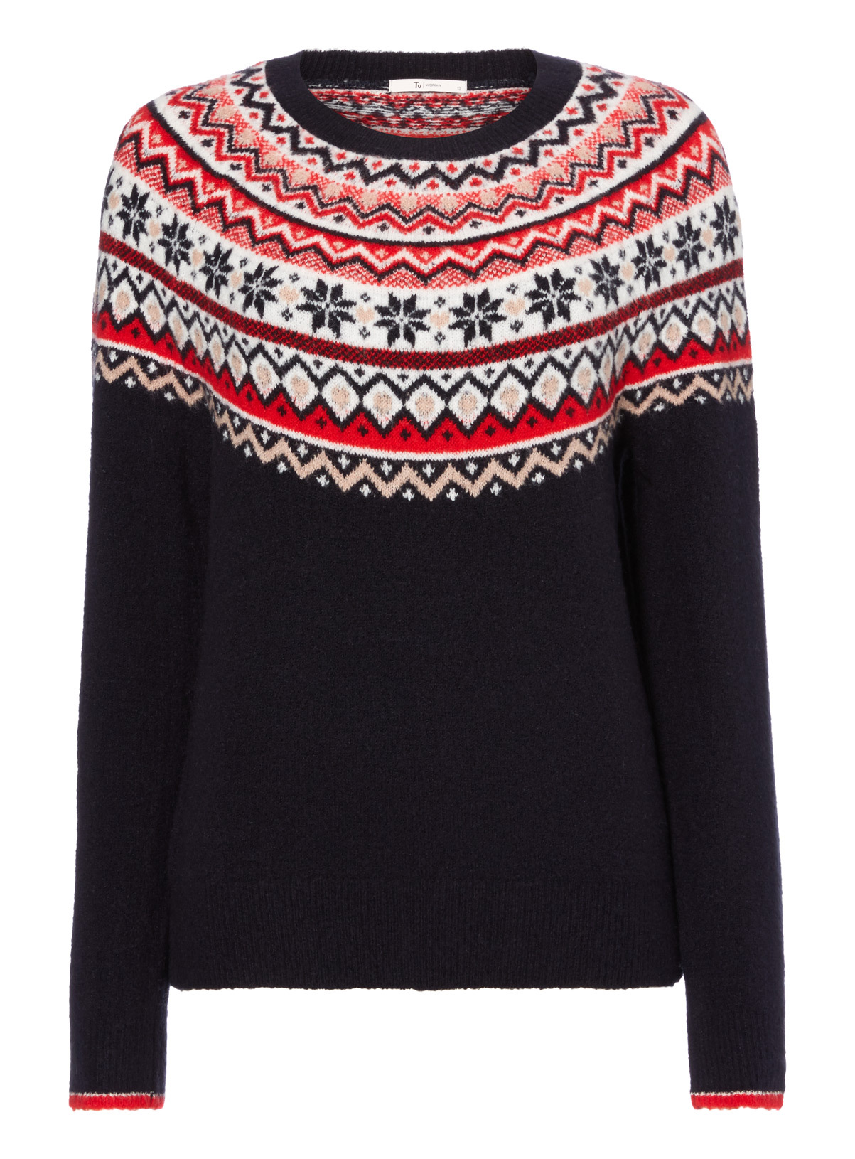 Womens Navy Christmas Traditional Fairisle Jumper | Tu clothing