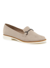 Grey Slipper-Cut Loafers