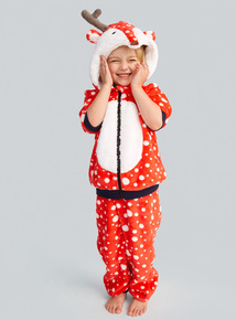 Red Christmas Reindeer Fleece Two Piece Set (4-14 years)