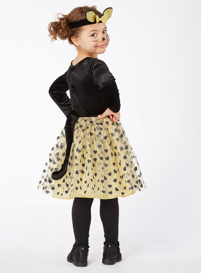 Black Halloween Cat Dress and Headband Outfit (0-4 years)