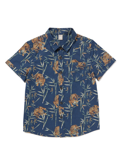 Blue Buttoned Tiger Shirt (3-14 years)