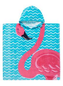 Multicoloured Flamingo Poncho Towel