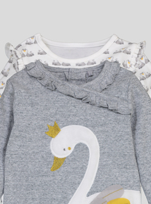 Grey & Cream Swan Print Sleepsuits 2 Pack (0-24 months)
