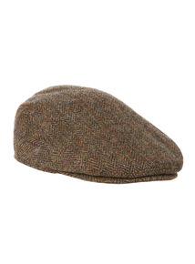 Green Harris Tweed Herringbone Flat Cap