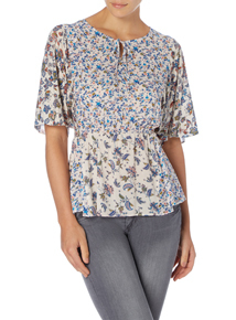 Multicoloured Floral Peasant Top