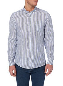 Blue Bengal Stripe Linen Shirt