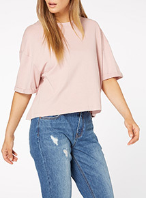 Rib Neck Boxy Top