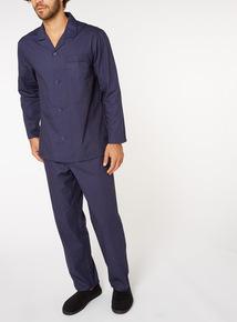 Navy Pinspot Print Traditional Pyjamas