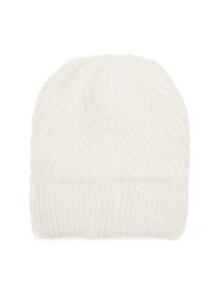 Cream Super Soft Chevron Pattern Beanie Hat
