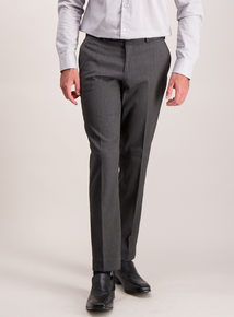 Online Exclusive Charcoal Herringbone Slim Fit Trousers With Stretch