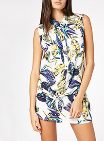 Palm Print Tie Front Shirt