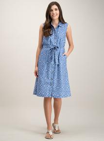 3fd97d12a2b Blue Tile Print Sleeveless Shirt Dress