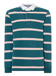 Green and Pink Breton Striped Rugby Shirt