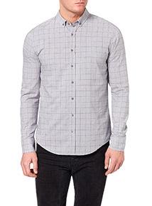 Grey Marl Window Pane Check Slim Shirt
