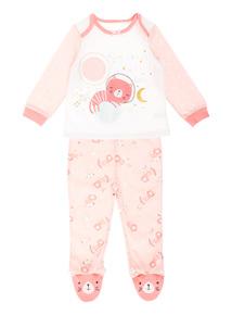 Girls Pink Space Kitty Pyjamas (0 - 24 Months)