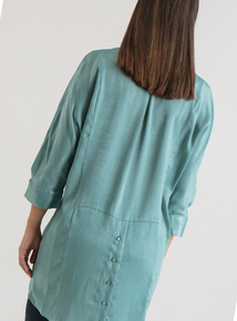 Premium Green Button Back Satin Tunic