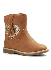 Brown Heart Tassle Boots