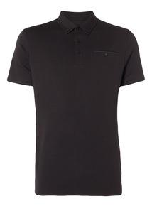Black Contrast Trim Polo Shirt