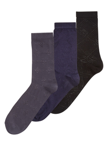 Navy Tactel Trouser Socks 3 Pack