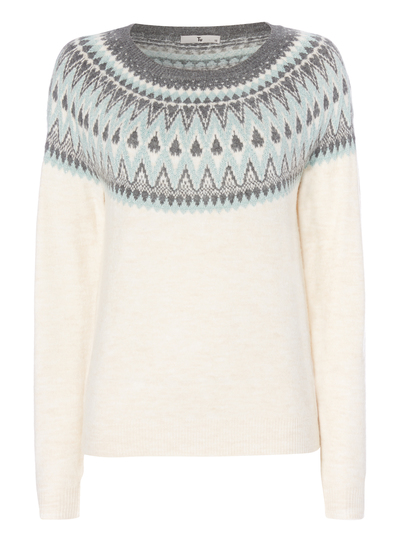 Womens Cream Patterned Fairisle Jumper | Tu clothing