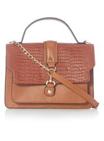 Tan Croc Satchel Bag