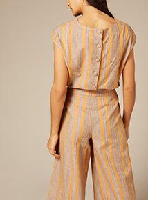Premium Linen Stripe Shell Top
