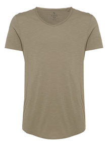 Khaki Raw Edge Scoop Tee