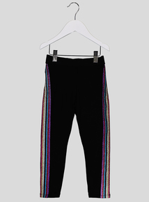 Black Rainbow Trim Leggings (3 - 14 years)
