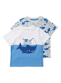 2 Pack Multicoloured Shark T-Shirts (0-24 months)